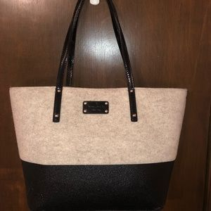 Kate Spade Flannel/Glitter Tote with Clutch